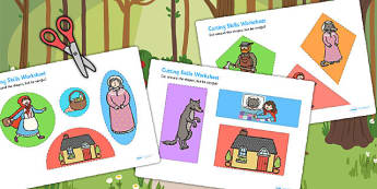 Little Red Riding Hood Themed Cutting Skills Worksheet / Activity Sheets- cutting
