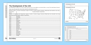 When Did America Become the United States of America? Differentiated Activity Sheets - federal america, american west, state government, settlers, immigrants, worksheet, frontier, native