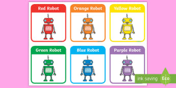 Coloured Robot Card - Robots, colours, red, orange, yellow, green, blue, colour mixing, characters.