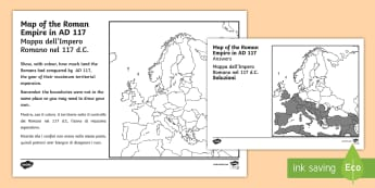 Spread of the Roman Empire Map Activity Sheet English/Italian - Spread of the Roman Empire Map Worksheet - romans, roman empire, activity sheet, EAL