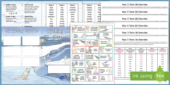 Year 3 Polar Regions Themed Spelling Menu Pack  - spag, gps, home learning, weekly, lists, test, spelling patterns, spelling rules