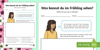Spring  Read and Draw Worksheet / Activity Sheet - Spring, Frühling, Colours, German, Numbers, Basic Phrases