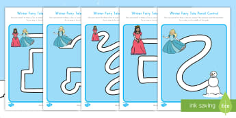 Winter Fairy Tale Pencil Control Path Activity Sheets - snowflake, snowman, princess, pencil grip, handwriting, fine motor