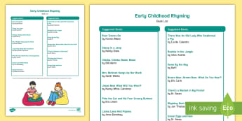 Early Childhood Rhyming Book List -  Rhyming Words, Phonological Awareness, Word Families, Read Alouds