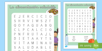 Sopa de letras: La alimentación saludable - sopa de letras, sopa, letras, alimentación, saludable, comida, sana, nutrición, comer, dieta, sano