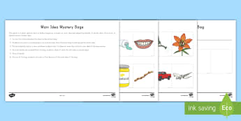 Main Idea Mystery Bag Activity - Supporting Details, nonfiction, Informational text, summarizing, comprehension, text purpose