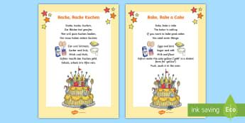 Backe Backe Kuchen Song Lyrics German - German Songs, Rhymes, Backe backe Kuchen, MFL, Languages