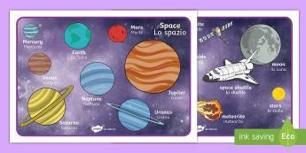 Space Word Mat English/Italian - Space Word Mat - Space, word mat, writing aid, topic words, moon, sun, earth, mars, ship, rocket, al