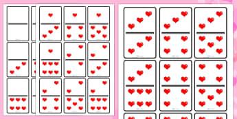 Jeu de dominos : La Saint Valentin - nombres, numération, mathématiques, cycle 1, 14 février, cœur , compter,