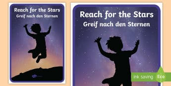 Reach For The Stars Motivational Poster  English/German - Motivation, learning, inspiration, EAL, German, English-German,,German-translation