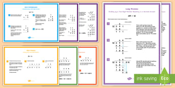 UKS2 Multiplication and Division Strategies Display Posters - long multiplication, long division, short division, regrouping, short multiplication, remainders, de