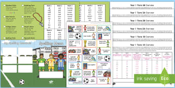 Year 1 Football Themed Spelling Menu Pack - Spag, Weekly, Lists, Gps, Home Learning