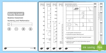 CfE Early Level Baseline Maths Test Activity Sheet - CfE Early Level Baseline Assessment Numeracy and Mathematics, Maths, testing, worksheet, Number, Mon