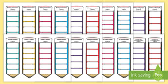 CfE Second Level Writing Genre Target Bookmark Resource Pack - genres of writing, writing targets, Big Writing, Tools for writing, Pupil friendly writing checklist
