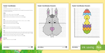 Easter Coordinates Differentiated Activity Sheets - Easter, Coordinates, Graph, axes, chick, worksheet,