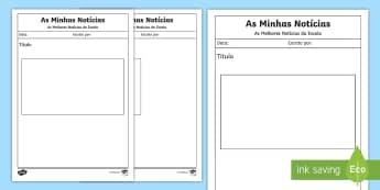 Modelo de escrita, as minhas notícias - escrita, cartas, capacidade motoras finas, atividade, literacia, modelo, carta