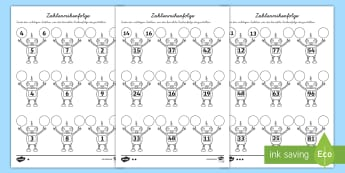 Zahlenreihenfolge Arbeitsblätter: Unterschiedliche Schwierigkeitsgrade - Mathe, Mathematik, Zahlen, Zahlenreihenfolge, weniger als, mehr als, minus, plus, addieren, subtrahi