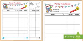 LKS2 Party Timetable Activity Sheet - world maths day, amazing maths day, schedule, running order, y3 and y4, worksheet