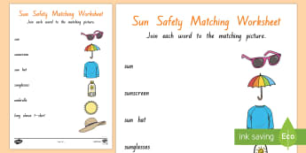 Sun Safety Matching activity