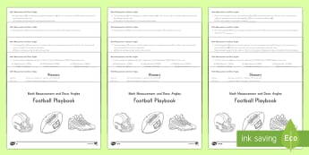 4th Grade Football Playbook (Angles) Activity Booklet - Super Bowl 2017