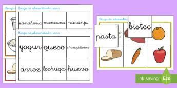 Bingo: Alimentación sana - origenes de la comida, comer bien, comer sano, saludable, nutrición, alimentación, dieta saludable