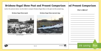 People and Places - Brisbane Royal Show Past and Present Activity Sheet - People and Places, Geography, English, Compare, Contrast, Venn, Diagram, worksheet, history, brisban