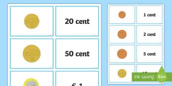 Gli euro in monete e il loro valore Attività - auro, monete, denaro, contare, italiano, italian, materiale, scolastico