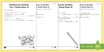 Northern Ireland Linguistic Phonics Stage 5 and 6, Phase 3a and 3b, 's' Dictation Sentences Activity - Linguistic Phonics, Stage 5, Stage 6, Phase 3a, Stage 3b, Northern Ireland, sentences, dictation, wo