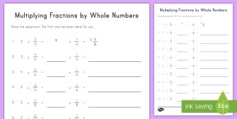 Multiplying Fraction Multiples by Whole Numbers Activity Sheet - multiplication, repeated addition, fractions, whole numbers, multiples, common core, fourth grade
