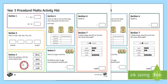 Year 3 Procedural Differentiated Maths Mats - Matiau Gweithgareddau Mathemateg, Maths Acitvity Mats, matiau mathemateg, gweithgareddau mathemateg,