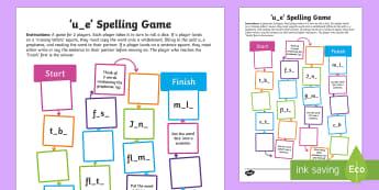 u-e Spelling Board Game