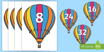 Counting in 8s Air Balloon Cut-Outs - twos, threes, fives, tens, counting from 0, place value display, multiple, counting in multiples