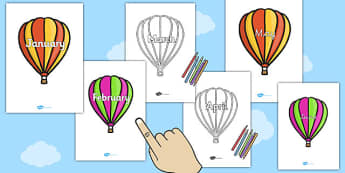 Months of the Year on Hot Air Balloons (plain) - Balloons, hot air balloon, Weeks poster, Months display, display, poster, frieze, Days of the week