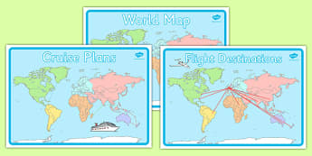 World Map Display Posters - Holiday, holidays,Travel agent, travel, role play, display poster, poster, sign, holidays, agent, booking, plane, flight, hotel