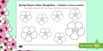 Spring Flowers Colour Recognition Colouring Page English/German - Spring, colour, color, colouring, coloring, flowers, flower,German-translation