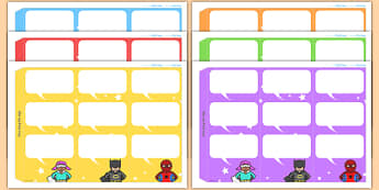 Superheroes Themed Standing Tabletop Targets - superheroes, superheroes themed, table top targets, targets, class targets, themed targets, class management