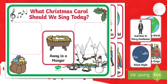 Christmas Carol Choosing Cards - Christmas songs, hymns, away in a manger, God rest ye merry gentlemen, joy to the world, O Christmas