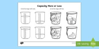 Capacity More or Less Activity Sheet - Capacity Matching Cards EYFS - capacity, maths, numeracy, matching cards, match, cards, eyfs, capact