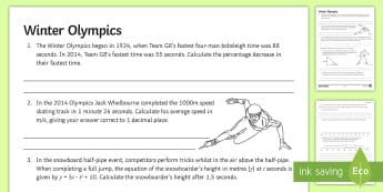 Winter Olympics Quiz Activity Sheet - trigonometry, speed, percentages, substitution, bounds, box and whisker, sochi, pyeongchang