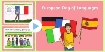 KS2 European Day of Languages PowerPoint - french, spanish, german, english, speaking, language, Europe,Scottish