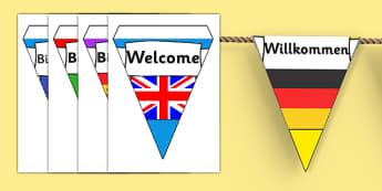 """""""Bun venit!"""" în diferite limbi -Stegulețe - septembrie, început de an școlar, revenirea la școală, mesaje motivaționale, adaptare la școal"""