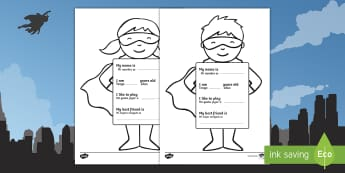 All About Me Superhero Worksheet / Activity Sheet English/Spanish - worksheet, Ourselves, All about me, family, Ks1, Y1, Year 1, EYFS, Reception, Growing, growth, EAL,