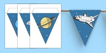 Guirlande de fanions : L'espace - planète, galaxie, étoile, soleil, lune, terre, spatial, mars, décoration