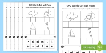 Phase 3 CVC Words Cut and Paste Activity - phase 3, cvc, words, cut, paste, activity