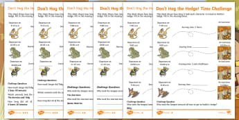 Don't Hog the Hedge! Time Challenge Differentiated Activity Sheets - Twinkl Originals, Fiction, Autumn, Hibernate, Woodland, Animals, telling the time, hours, minutes, o