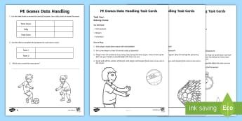 PE Games Data Handling Worksheet / Activity Sheets and Challenge Cards - PE, Challenge Cards, Data Handling, Tasks, Games, Fun