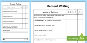 Recount Writing Self Assessment Sheet - Tracker, Genre, success criteria, measure, check