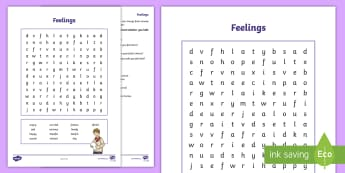 Feelings Word Search and Worksheet / Activity Sheet - emotions, family, young people, change, transition, worksheet