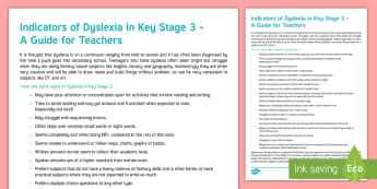Indicators of Dyslexia in Key Stage 3 Adult Guidance - Dyslexia, SpLd, Dyslexia Awareness Week, Indicators, signs