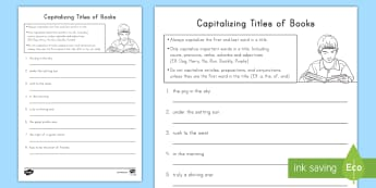 Capitalizing Book Titles Worksheet / Activity Sheet - Capitalization, book titles, Capitalizing rules, capital letters, English, Language, Titles
